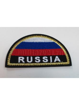 Шеврон МЧС России полукруг триколор вышитый без липучки люрекс