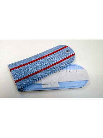 Погоны Полиции Серо-голубые 2 Красных Просвета без Канта  Нового Образца 12 см Пластик