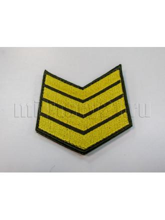 Нашивки Вышитые (Оливковый Фон, Желтая Вышивка) для Контрактников 4 год (на Липучке)