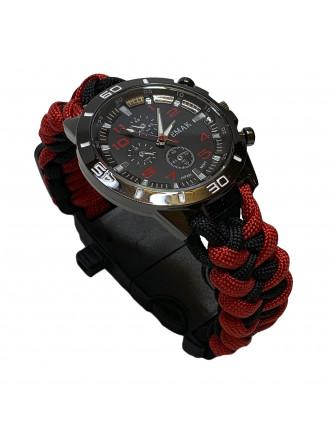 Часы Emak Тактические Паракорд Красно-черный