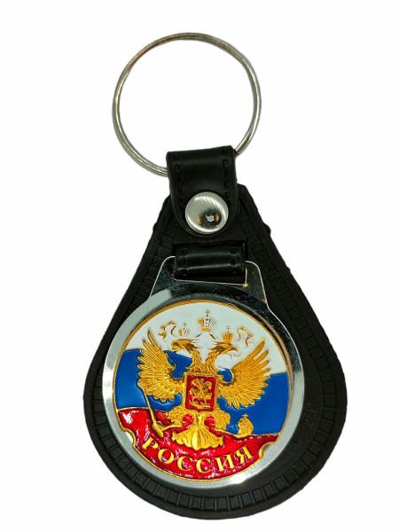 Брелок с Жетоном Россия (Триколор с Орлом РФ) на Виниловой Подложке