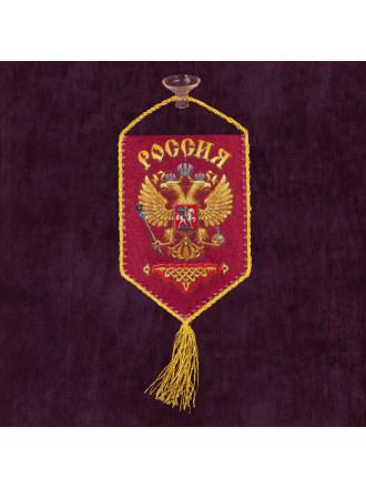 Вымпел Сувенирный Россия на Присоске 15x10 см