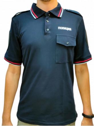 Рубашка Поло Полиция с Печатью на Спине и Груди Короткий Рукав