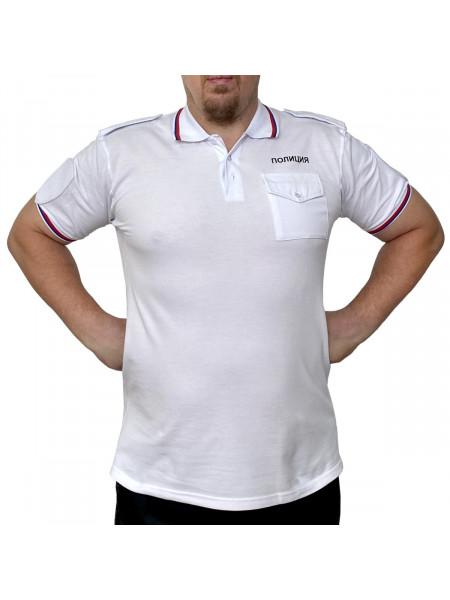 Футболка Поло Полиции Белая с Короткими Рукавами