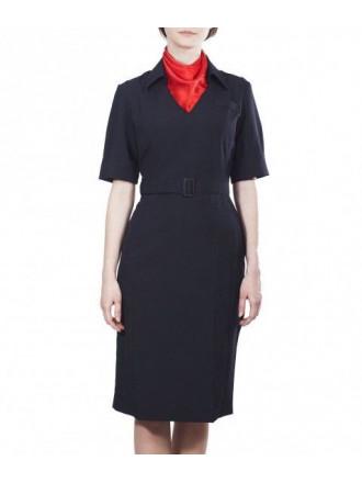 Платье Полиции с Коротким Рукавом Габардин без Платка