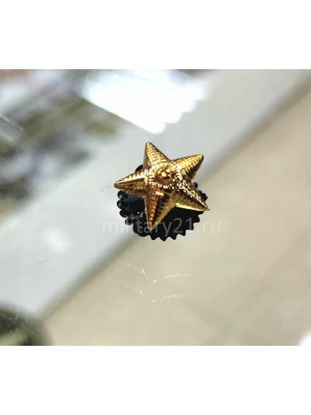Звезда на Погоны Пластик 13 мм (Рифленая) Золото