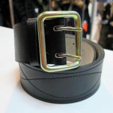Ремень офицерский кожаный черный стальная пряжка