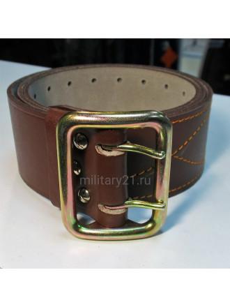 Ремень офицерский кожаный коричневый стальная пряжка