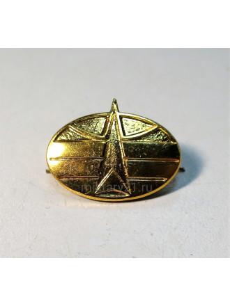 Эмблема петличная Космические войска нового образца золотая