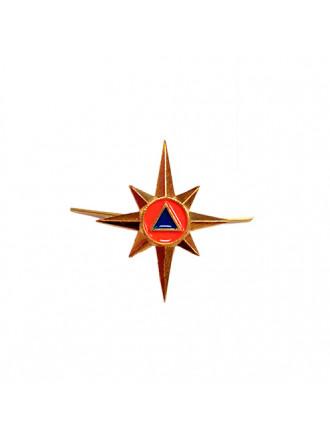 Эмблема Петличная Металлическая МЧС Нового Образца (Роза Ветров) Золотая
