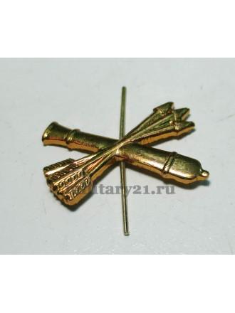 Эмблема петличная войска ПВО золотая