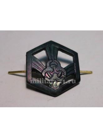 Эмблема петличная Войска РХБЗ нового образца защитная