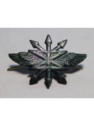 Эмблема петличная Войска связи нового образца защитная