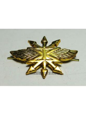 Эмблема петличная Войска связи нового образца золотая