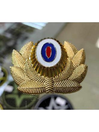 Кокарда Металл МЧС Нового Образца (без Розы Ветров) Большая Золотая (Узкий Овал)