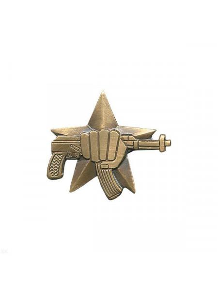 Значок Металл Кулак с Автоматом (Большой) на Закрутке