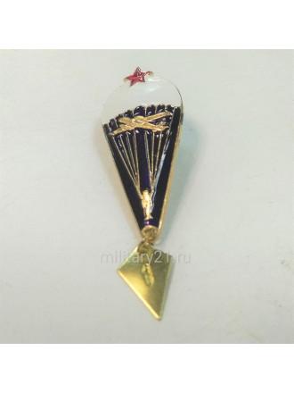 Значок Парашютист с самолетом и красной звездой