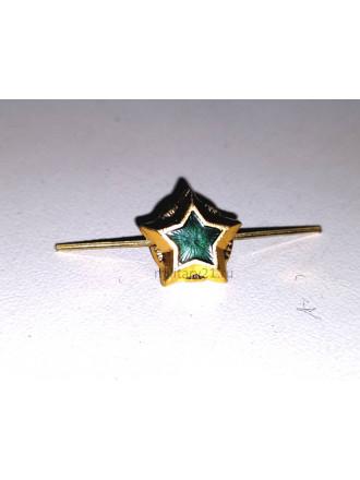 Звезда на Погоны ФССП 13 мм Металл Золото с Зеленой Эмалью