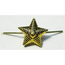 Звезда 13 мм на погоны золотая рифленая