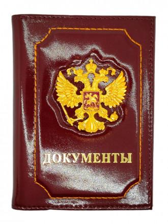 Обложка на Паспорт + Автодокументы Герб РФ Натуральная Кожа (Бордовый)