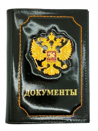 Обложка на Паспорт + Автодокументы Герб РФ Натуральная Кожа (Черный)