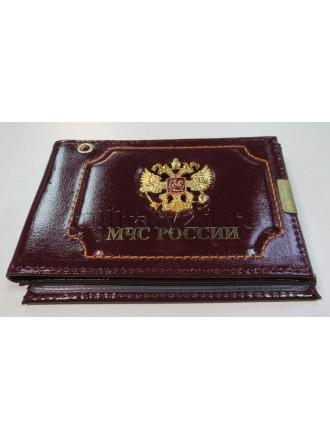 Обложка на Удостоверение и Автодокументы МЧС со Значком Бордовый
