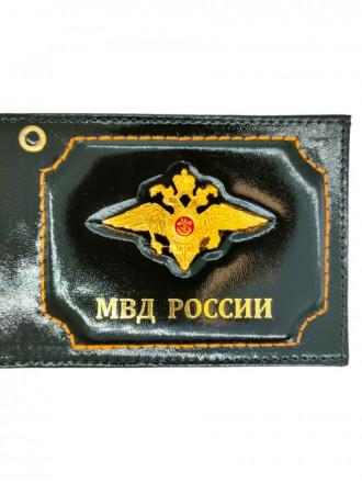 Обложка на Удостоверение с Эмблемой Орел МВД, МВД России Натуральная Кожа (Черный)