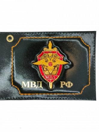 Обложка на Удостоверение с Эмблемой Щит МВД РФ Натуральная Кожа (Черный)