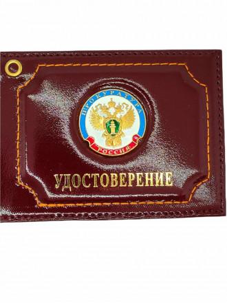 Обложка Прокуратура на Удостоверение с Круглым Значком Бордовая