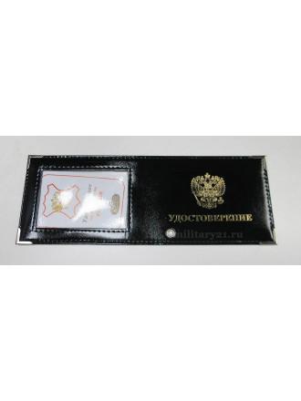 Обложка на удостоверение с окном нанесение нат.кожа шик (черный)