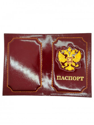 Обложка на Паспорт Герб РФ Натуральная Кожа(Бордовый)