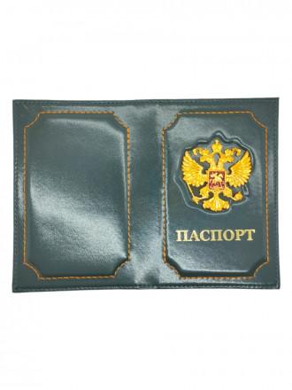 Обложка на Паспорт Герб РФ Натуральная Кожа (Серый)