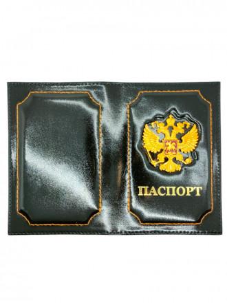 Обложка на Паспорт Герб РФ Натуральная Кожа (Черный)