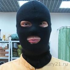Маска вязаная черная с вырезами для глаз и рта