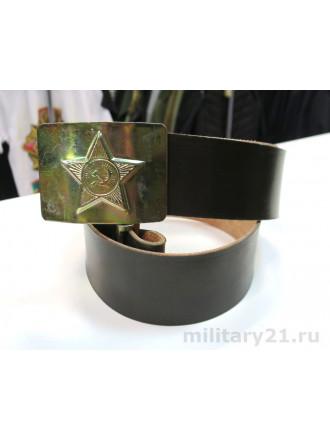 Ремень Солдатский Кожзам Звезда СА Золотистая Пряжка