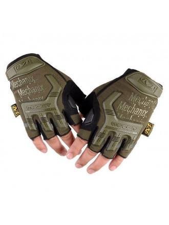 Перчатки Беспалые со Вставками Олива