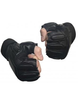 Перчатки Спецназовские Беспалые Кожаные Черные