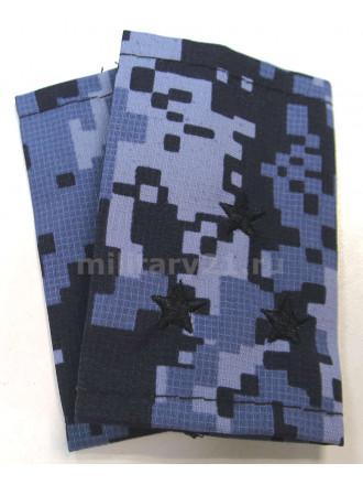 Фальш-Погоны  Росгвардия ВОХР Точка Синяя Вышитые Черным Старший Лейтенант