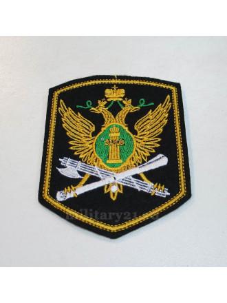 Шеврон Вышитый ФССП (5-угольный с Эмблемой Нового Образца) Шелк (с Желтым Кантом)