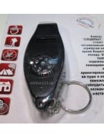 Компас-свисток с термометром и карабином Следопыт PF-TCP-09