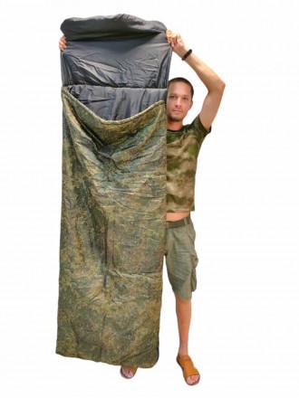 Спальный Мешок Средний с Подголовником Зеленый Пиксель