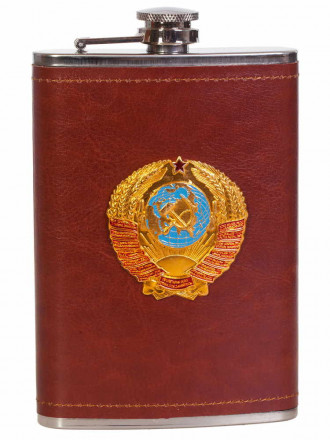 Карманная Фляжка с Металлической Накладкой Герб СССР