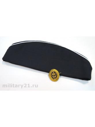 Пилотка ВМФ Черная Новодел Офицерского Образца