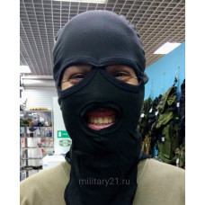 Балаклава маска с вырезами для глаз и рта черная летняя