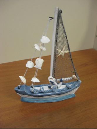 Кораблик Керамика с Парусом и Ракушками