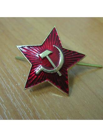 Звезда на Шапку СА 34 мм Красная