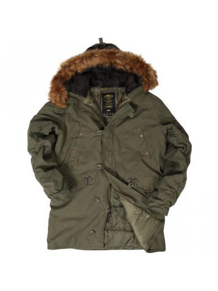 Куртка Slim Fit N-3B Cotton Parka Olive Green Alpha